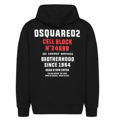 D SQUARED2 Hoodies Unisex Street Style Long Sleeves Logos on the Sleeves Logo 14
