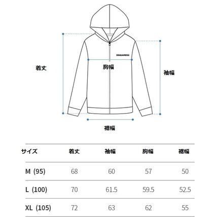 D SQUARED2 Hoodies Unisex Street Style Long Sleeves Logos on the Sleeves Logo 17
