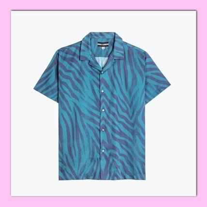 Button-down Unisex Street Style Cotton Short Sleeves Shirts