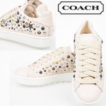 Coach Star Rubber Sole Lace-up Casual Style Studded Leather