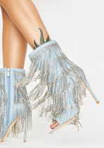 DOLLS KILL Open Toe Casual Style Plain Pin Heels Fringes