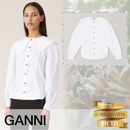 Casual Style Long Sleeves Plain Cotton Medium Party Style