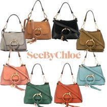 See by Chloe Suede 2WAY Plain Leather Crossbody Shoulder Bags