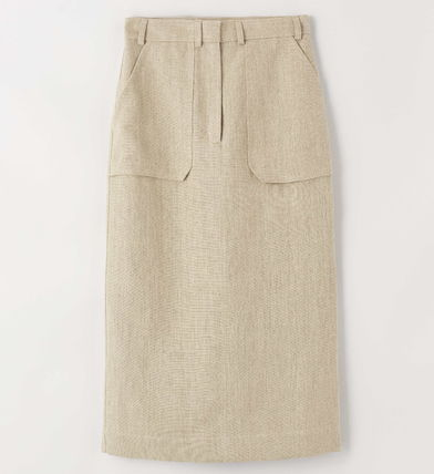 Pencil Skirts Casual Style Linen Medium Long Party Style