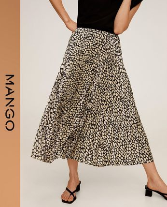 Casual Style Pleated Skirts Other Animal Patterns Medium