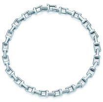 Tiffany & Co Tiffany T Bangles Unisex Street Style Chain Plain Metal Silver Logo