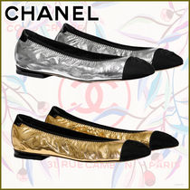 CHANEL Leather Logo Metallic Ballet Shoes