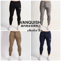 VANQUISH FITNESS Tapered Pants Sweat Street Style Plain Cotton Khaki Logo
