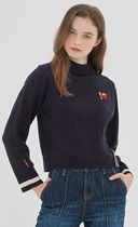 ROMANTIC CROWN Cable Knit Studded Street Style Long Sleeves Medium Logo