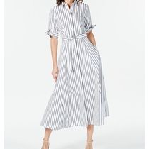 Calvin Klein Stripes Casual Style Flared Cotton Short Sleeves Party Style