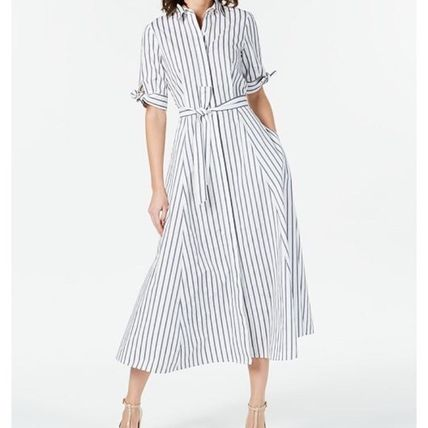 Formal Style  Stripes Casual Style Flared Cotton