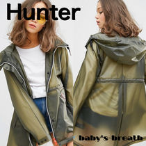 HUNTER Casual Style Raincoat Sheer Outerwear