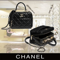 CHANEL Lambskin 2WAY Chain Plain Elegant Style Crossbody Bridal
