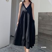 Casual Style Maxi A-line Sleeveless Flared Street Style