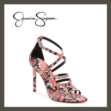 Open Toe Casual Style Faux Fur Pin Heels Party Style Python