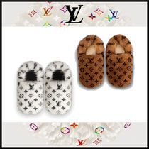 Louis Vuitton Monogram Unisex Fur Slippers Co-ord Logo Shoes