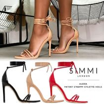 SIMMI Open Toe Casual Style Faux Fur Plain Pin Heels Elegant Style