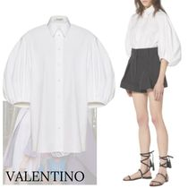 VALENTINO Casual Style Cropped Plain Cotton Medium Party Style