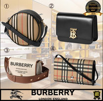 Burberry Other Plaid Patterns Monogram Unisex Street Style Plain Logo