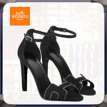 HERMES Open Toe Casual Style Suede Plain Leather Pin Heels