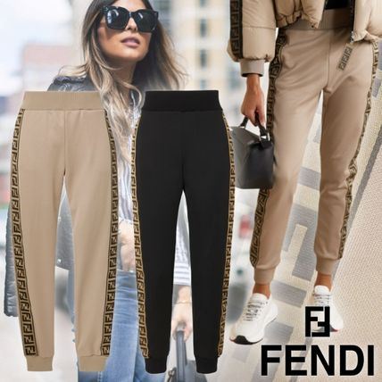 FENDI Casual Style Street Style Plain Long Logo Pants