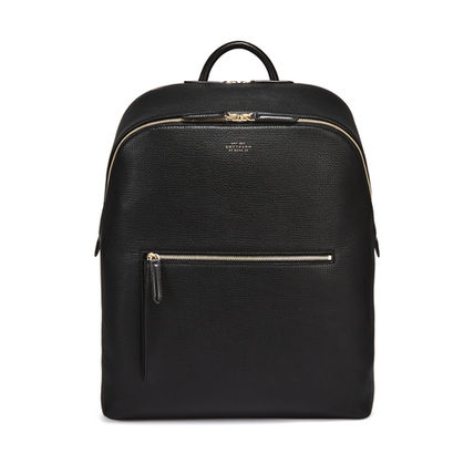 Unisex Plain Leather Handmade Logo Backpacks