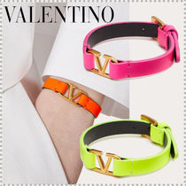 VALENTINO Casual Style Leather Party Style Elegant Style Neon Color