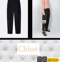 Chloe Stripes Casual Style Wool Long Wide Leg Pants