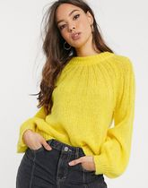 YAS Crew Neck Short Long Sleeves Plain Oversized Cropped
