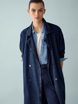 Massimo Dutti Casual Style Denim Plain Trench Coats