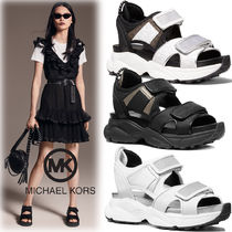 Michael Kors Monogram Open Toe Platform Casual Style Plain