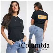 Columbia Crew Neck Plain Short Sleeves Logo T-Shirts