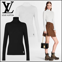 Louis Vuitton Wool Silk Long Sleeves Plain Long Sleeve T-shirt Logo