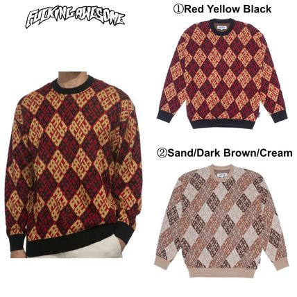 Fucking Awesome Sweaters Crew Neck Pullovers Wool Long Sleeves Skater Style Sweaters