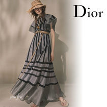 Christian Dior Maxi Silk Long Short Sleeves Elegant Style Puff Sleeves