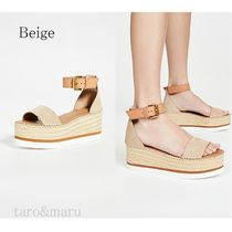 See by Chloe Open Toe Platform Casual Style Suede Plain Leather