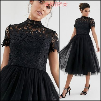 Flared Medium Short Sleeves Party Style High-Neck Lace
