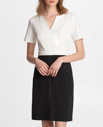 V-Neck Bi-color Plain Short Sleeves Office Style