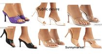 PUBLIC DESIRE Open Toe Square Toe Casual Style Plain Pin Heels Party Style