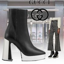 GUCCI Casual Style Plain Leather Block Heels Elegant Style