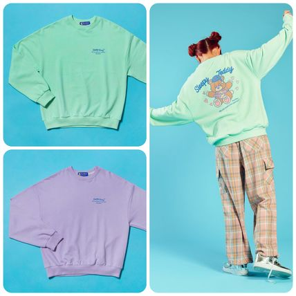 Street Style Neon Color Icy Color Hoodies & Sweatshirts