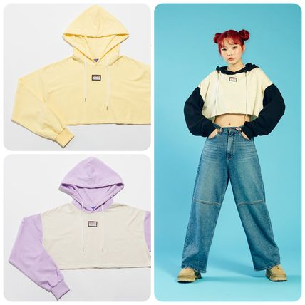 Short Street Style Long Sleeves Icy Color Cropped