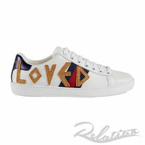 GUCCI Ace Stripes Round Toe Rubber Sole Lace-up Casual Style
