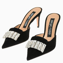 Sergio Rossi Suede Plain Pin Heels Party Style Mules Heeled Sandals