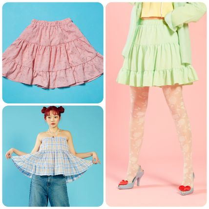 Other Plaid Patterns Heart Street Style Icy Color Skirts