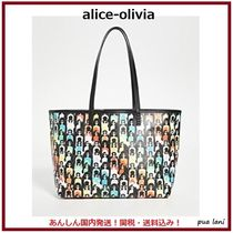 Alice+Olivia Stripes Casual Style Canvas Street Style A4 Logo Totes