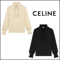 CELINE Casual Style Silk Long Sleeves Plain Medium Party Style