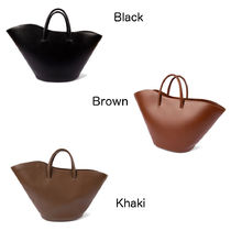 LITTLE LIFFNER Casual Style Plain Leather Office Style Elegant Style Totes