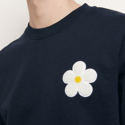Crew Neck Pullovers Flower Patterns Long Sleeves Plain