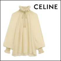 CELINE Casual Style Silk Street Style Long Sleeves Plain Medium